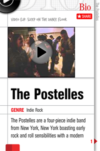 Detalhe de Bio do The Postelles no app Band of the Day