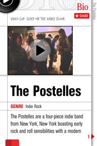 Detalhe de Bio do The Postelles no app Band of the Day