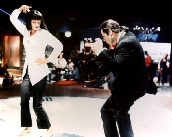 Uma Thurman, Mia Wallace, John Travolta, Vincent Vega, Pulp Fiction